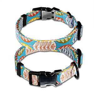 2 Pack Dog Collars Boy Girl Colorful Dog Collars Metal Buckle Dog Collars for Small Medium Large Dogs Color Leaves