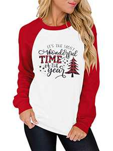 Prinbara Its The Most Wonderful Time The Year T Shirt Women Xmas Tree Tee Tops Letter Print Splicing Holiday Shirt Red+White 3PA13-SD013-hongbai-XXL