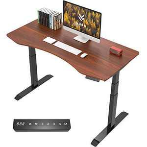 """VORII Electric Height Adjustable Standing Desk, 55""""x28"""" One-Piece Ergonomic Tabletop, Dual Motor Stand Up Desk Workstation, Black Frame/Walnut Top"""
