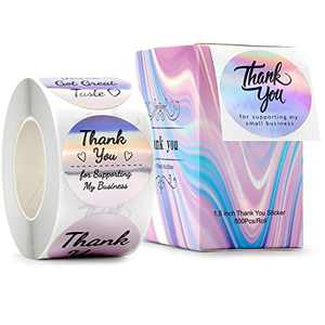 """Purple Thank You for Supporting My Small Business Stickers, 8Designs, 1.5"""", Holographic Round Labels, Thank You Stickers Roll for Boutiques, Shop, Wrapping Supplies, Purchase, Order Packaging, 500PCS"""