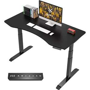 """VORII Electric Height Adjustable Standing Desk, 55""""x28"""" One-Piece Ergonomic Tabletop, Dual Motor Stand Up Desk Workstation, Black Frame/Black Top"""