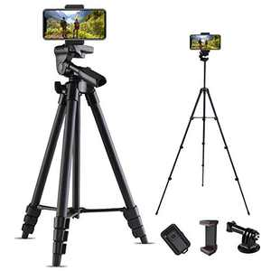 """LINKCOOL Camera Tripod Stand, 53"""" Extendable Phone Tripod Stand with Bluetooth Remote Shutter and Phone Holder Tripod for iPhone/Android Phone/Sports Cameras/DSLR"""