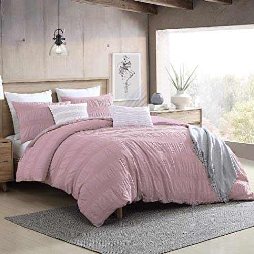 """Swift Home Moselle Cotton Ruched & Waffle Weave Duvet Cover Set, Oeko-Tex Certified, Ultra Soft and Breathable, Button Closure, All Season - Pink, Full/Queen (88"""" x 92"""")"""