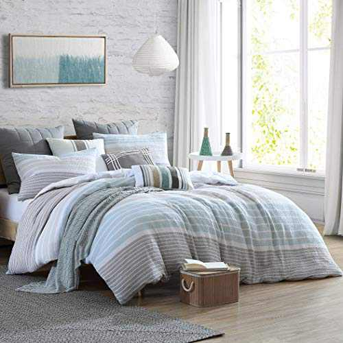 "Swift Home Cordelia Prewashed Yarn-Dyed 100% Cotton Gauze Stripe Duvet Cover Set, Oeko-Tex Certified, Ultra Soft and Breathable, Button Closure, All Season - Oatmeal, Full/Queen (88"" x 92"")"