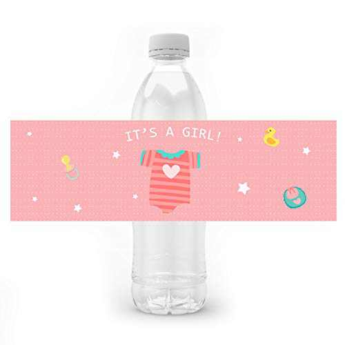 24PCS It's a Girl Water Bottle Labels Baby Shower Party Favors