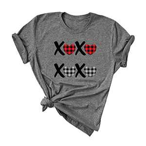 ANIKJOY Womens Cute Plaid Love Heart Graphic T Shirts Valentines Day Leopard Print Graphic Casual Short Sleeve Holiday Tee Top M gray4