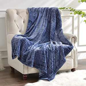 Flannel Fleece Throw Blanket, 400gsm Jacquard Weave Soft Plush Velvet Flannel Blanket for All Seasons, Lightweight Cozy Warm Comfy Bed Couch Car Office Throw Navy Blue, 60x80 inches