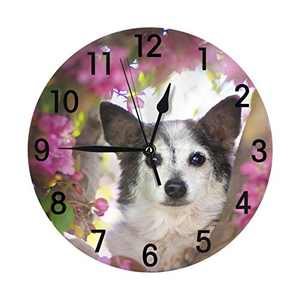 Abucaky Cute Dog with Flowers Wall Clock Battery Operated Silent Round Clock Wall Decor for Home, Office, School 9.8 Inch