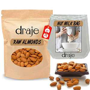 Raw Almonds with Nut Milk Bag, Natural California Almonds and Cotton Bag for Straining, Healthy Vegan Keto Snack, 2 Lb