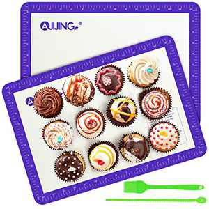 """Silicone Baking Mats, Set of 2 Non-Stick Half Sheet Baking Mats with Measurement,Cleaning Brush and Storage Rope, Food Safe,Heat Resistant, Perfect For Macaron/Bun/Pastry/Meat/Rolling(16.5"""" X 11.6"""")"""