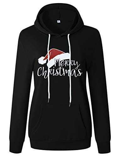 ANTSZONE Merry Christmas Santa Hat Graphic Hoodie Sweatshirts for Women - Casual Long Sleeve Pullover Hooded Sweatshirt Tops (2# Black, M) 311-SD007-heise-M