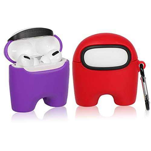 Jowhep Case for AirPod Pro/3 Cartoon Design Cute Silicone Cover Kawaii Fashion Funny Cool 3D Unique Soft Protective Keychain for Air Pods Pro Girls Boys Women Cases for AirPods 3 (Purple+Red 2 Packs)