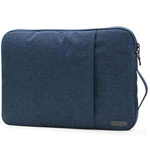 OneGET Laptop Sleeve Case Compatible with MacBook Pro 16 inch Touch Bar 15-15.6 inch MacBook Pro Retina 2012-2015, Notebook, Polyester Vertical Watercolor Bag with Pocket(15.6-16Inch, Navy Blue)