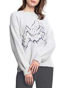 Snuggle Sac Women's Long-Sleeve Crewneck Sweater Casual Knitted Pullover Sweater Air Feel Comfy Loose Sweatshirt Tops (Oyster Mushroom, L/XL)