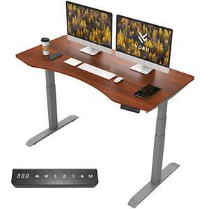 "VORII Electric Height Adjustable Standing Desk, 60""x30"" One-Piece Ergonomic Tabletop, Dual Motor Stand Up Desk Workstation, Gray Frame/Walnut Top"