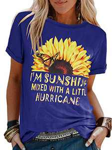 Ofenbuy Womens Summer Sunflower Graphic T Shirts Letter Print Casual Round Neck Short Sleeve Cute Blouses Tops (Medium, Royal Blue)