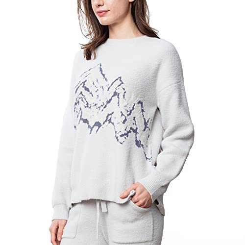 Snuggle Sac Women's Pullover Sweaters Casual Long Sleeve Crewneck Tunic Tops Loose Knitted Jumper Grey