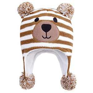 AQOTHES Kids Boys Girls Winter Hat Knit Earflaps Cute Pompom Warm Fleece Lined Beanie