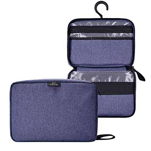Hanging Toiletry Bag for Men, Shaving Dopp Kit and Waterproof Toiletry Organizer For Traveling, Large Travel Shower Organizer for Travel Essentials and Toiletries Accessories (Dark Blue)