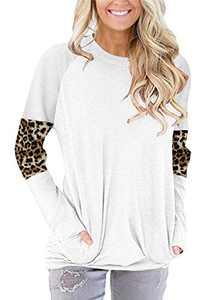 ONLYSHE Plus Size Long Sleeve Shirts for Womens Mom T Shirts Leopard Print Tshirt Tunic Tops