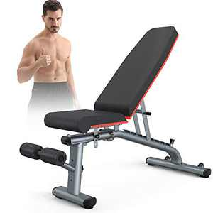 KingStone Weight Bench, Adjustable Weight Bench Strength Training Workout Bench Incline Decline Flat Bench Gray