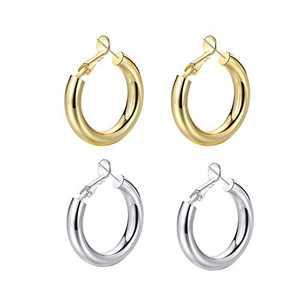 UEUC Hoop Earrings 18K Gold Plated Chunky Hoop Earrings Lightweight Thick Hoops for Women