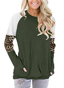 ONLYSHE Womens Loose Casual T-Shirts Leopard Color Block Patchwork Tunic Tops Blouses Green XXL