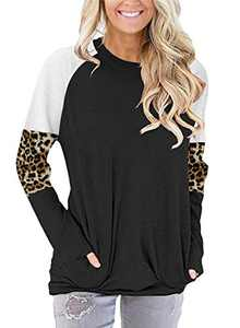 ONLYSHE Women's Long Sleeve Sweatshirt Leopard Color Block Pullover Tunic Top Shirts Black M
