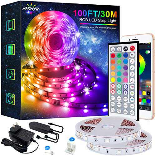 LED Strip Lights - 100FT Led Light Strips, Music Sync Color Changing Led Strip Lights, Bluetooth Led Strip Lights with Remote, 5050 LED Strip Lights for Bedroom,Home Pary and Decoration