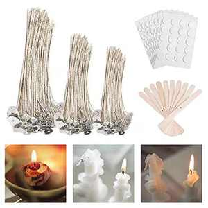 310 Pcs Candle Making Supplies Candle Making Wicks 4 inch 6 inch 8 inch Candles Wicks-Candle Wicks for Soy Tealight Candles Making-Candle Stickers-Wooden Wick Centering Device for Soy Candles Making
