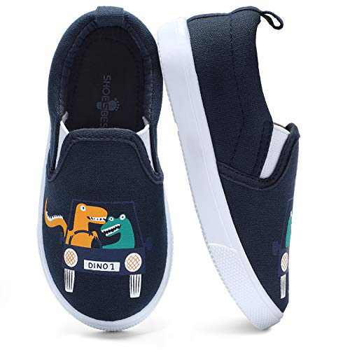 KIZWANT Toddler Shoes Boys Slip On Canvas Sneakers Lightweight Casual Loafers for Walking School Navy/Dinosaur 7 M US Toddler