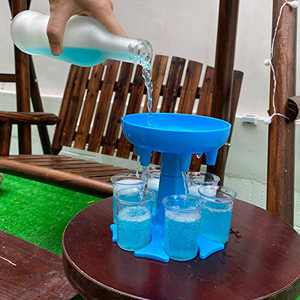 ALLADINBOX 6 Shot Glass Dispenser and Holder with Cup for Filling Liquids, Multiple 6 Bar Shot Dispenser, Cocktail Dispenser, Carrier Liquor Dispenser