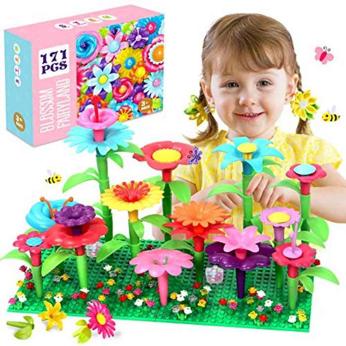 ATCRINICT Flower Toys for 3 Year Old Girls Boys,Garden Building Blocks Toy Set for Kids Stacking Game Toddlers playset Educational Activity for Preschool Children Age 3 4 5 6 7 Year Old (171 PCS)