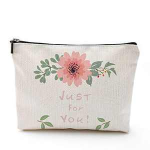 Just for You Make Up Bag Flower Leaf Large Waterproof Cosmetic Purse Heavy Duty Lightweight Makeup Pouch Birthday Gift for Women Travel