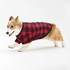Hozz Classic Plaid Cotton Dog T-Shirt Hypoallergenic Breathable and Comfortable for Small Medium Dogs Christmas Cats Puppy Warm Cloth Gift Red&Black Plaid S