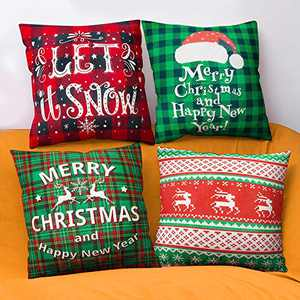 BININBOX Christmas Decor Pillow Covers 18x18 Inch Set of 4, Xmas Red and Green Buffalo Plaid Deer Pillow Cases Linen Throw Pillow Covers for Sofa Couch Bed Decorations