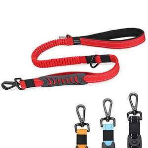BELPRO Heavy Duty Dog Leash with Car Seat Belt Buckle, 4-6 FT Strong Bungee Dog Leash for Large Dogs Up to 150lbs, Reflective, 2 Padded Traffic Handle for Extra Control(Red)