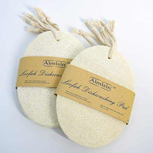 10 Pack Aimisin Natural Loofah Cleaning Pad for Dish Washing, Kitchen Scouring Pad, Household Clean Tool, Natural Loofah 100% Plant-Based Fibers, Biodegradable, Large 4.7''x6.3''