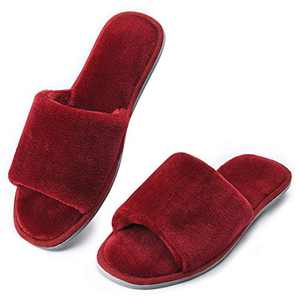DL Open Toe Womens Slippers Indoor, Cozy Memory Foam House Slippers for Women Slip On, Comfy Soft Flannel Womens Bedroom Slippers Slide Breathable Size 5-6 Red Wine
