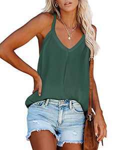 Ybenlow Womens Knit Racerback Tank Tops V Neck Sleeveless Shirts Summer Casual Loose Vest Shirt Cami Blouses Dark Green