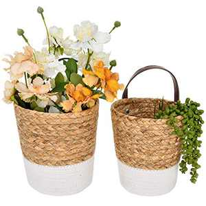 StorageWorks Water Hyacinth & Cotton Rope Hanging Basket, Small Wicker Baskets for Plants & Accessories, Wall Hanging Storage Basket for Home Decor, Mixing of Natural & White, Set of 2