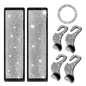 DOCAS Rhinestone Seatbelt Covers, Diamond Seat Belt Shoulder Pads Set with Car Seat Hooks, Gifts for Women Wife Mom (7 Pack)