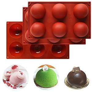 6 Holes Sphere Silicone Molds for Chocolate Bombs, Cake, Jelly, Pudding, Dome Mousse, Handmade Soap, Brown Round Silicone Baking Molds 3 Packs
