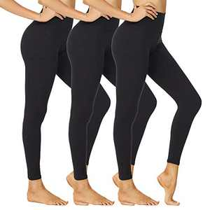 NexiEpoch Leggings for Women - High Waisted Soft Stretch Yoga Pants for Workout, Running - Reg&Plus Size (Black/Black/Black, Small-Medium)