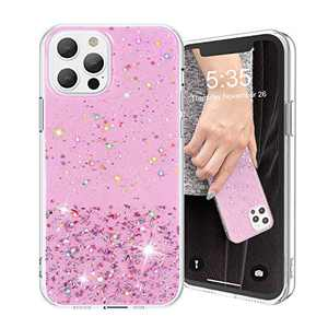 AKUDY Glitter Case Compatible with iPhone 12 Pro Max Case for Women Girls - Bling Shiny Sparkling Girls Phone Case Protective TPU Case for 12Pro Max -(6.7 Inch)