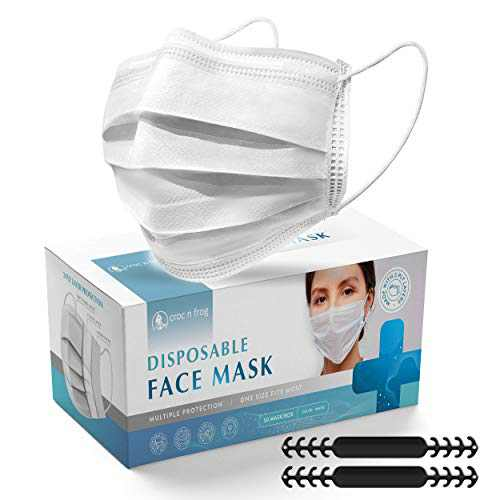 White Disposable Face Masks - 3 Ply 50 Pack With Comfortable Black Adjustable Mask Extender For Home, Office, School Breathable Dust Facemask for USA Adult