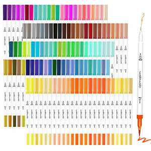 walowalo Journaling Pens Daily Planner Note Taking Markers for Adult Coloring Books Dual Tip Brush Fineliner With Organizer Artist Calligraphy Lettering Drawing Doodling 120 Vivid Colors No Color Code