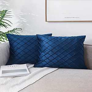 Jepeak Pack of 2 Velvet Decorative Throw Pillow Covers Cases Soft Comfortable Solid Rectangular Rhombus Checkered Plaid Cushion Covers for Sofa Couch Bed (Navy Blue, 16x24 Inches)