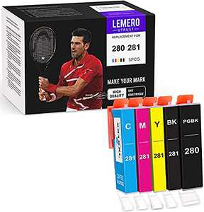 LemeroUtrust Compatible Ink Cartridge Replacement for Canon 280 281 PGI-280 CLI-281 use with PIXMA TS9120 TS6220 TS6120 TR8520 TS8220 TS8320 (PGBK, Black, Cyan, Magenta, Yellow, 5-Pack)