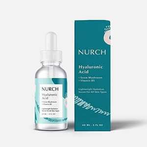 NURCH Pure Hyaluronic Acid Serum for Face + Vitamin B5 + Snow Mushroom | Natural & Lightweight for Anti-Aging | Vegan, Clean, & Fragrance Free | Moisturizer Hydrates Dry Skin & Reduce Fine Lines, 2 Oz